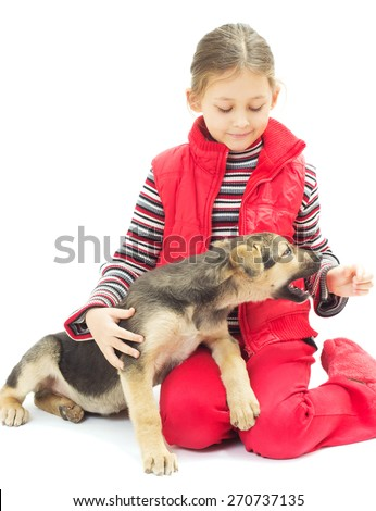 little girl playing with a dog - stock photo