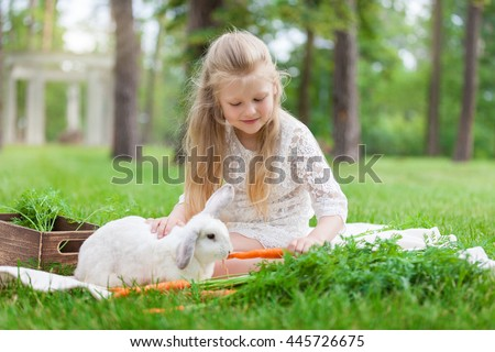 Little girl playing with white rabbit in sunny day outdoor.