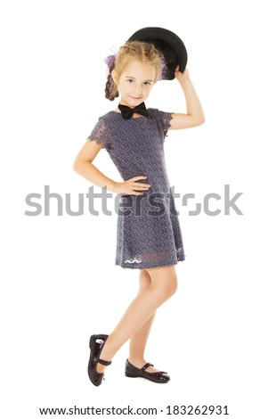 little girl portrait, kid well dressed in formal wear children dress, isolated on white background  - stock photo
