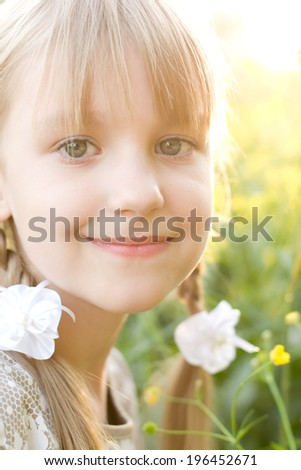 Little girl portrait summer outdoors  - stock photo