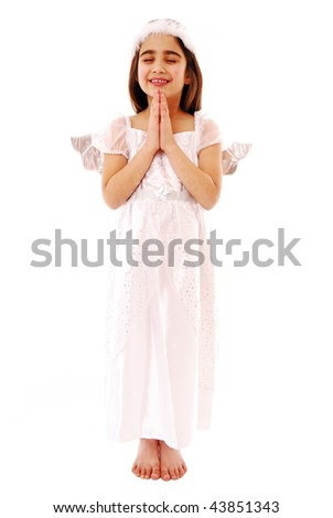 Little girl praying isolated on white