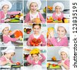 Little girl preparing healthy food on kitchen. Collage - stock photo