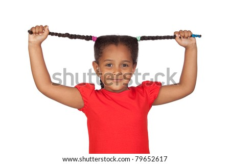 Little girl pulling their long tresses isolated on a over white background - stock photo