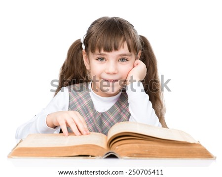 little girl reading big book. isolated on white background
