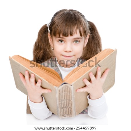 little girl reading big book. isolated on white background - stock photo