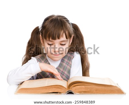 little girl reading book. isolated on white background - stock photo