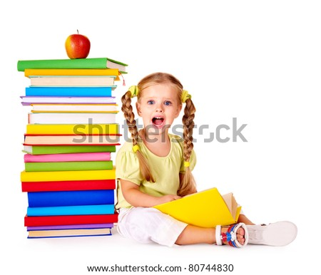 Little girl reading  pile of books. Isolated. - stock photo