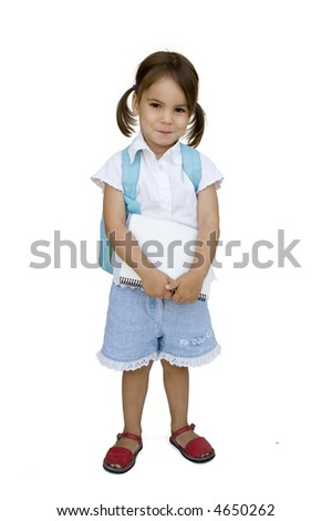 little girl ready for school isolated on white - stock photo