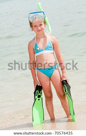 Little girl ready for snorkeling - portrait - stock photo