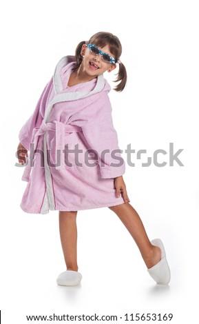 little girl ready for the bath - stock photo