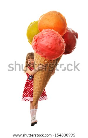Little girl rejoice the very big ice cream which they hold in her hands. On white background. - stock photo