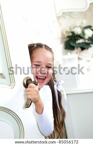little girl resting in the bedroom - stock photo