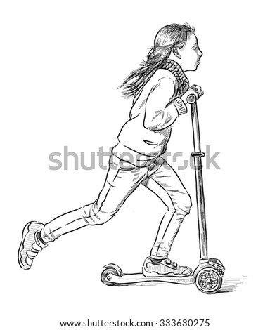 little girl rids on a scooter - stock photo