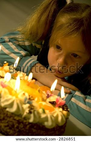 Little girl's birthday - stock photo