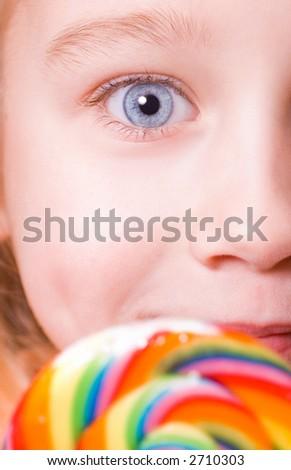 Little girl's perfect blue eye - stock photo