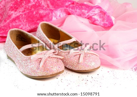 little girl's pink sparkly make belief princess shoes - stock photo