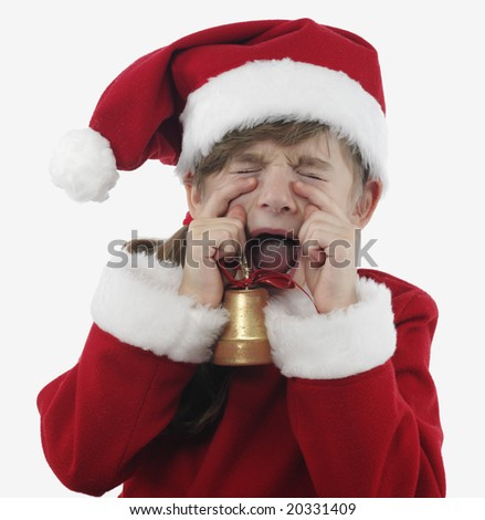 Little girl Santa Claus cry on the white background - stock photo