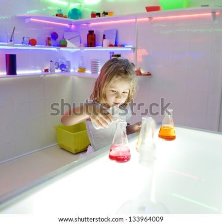 little girl scientist - stock photo