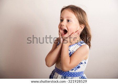 Little girl screaming, portrait - stock photo