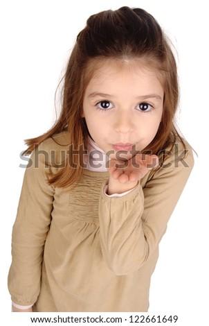 little girl sending a kiss - stock photo