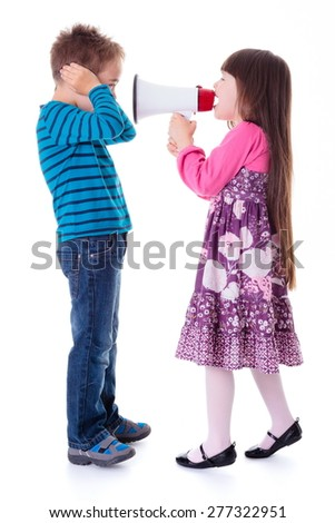 Little girl shouting at boy with megaphone