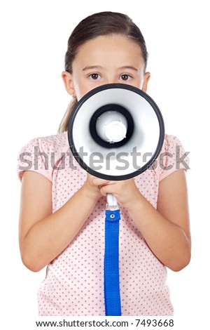 Little girl shouting through megaphone - focus in the megaphone -
