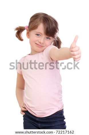 Little girl   showing the thumb isolated on white background - stock photo