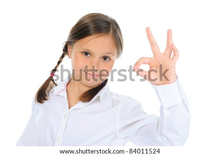little girl shows sign okay. isolated on a white background - stock photo