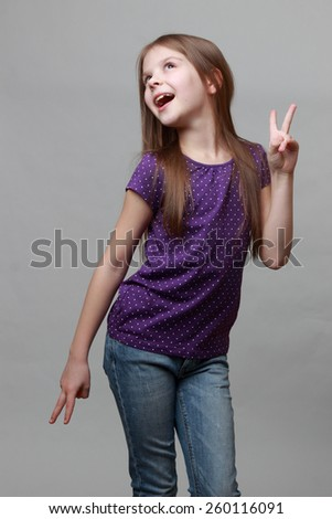little girl singing - stock photo