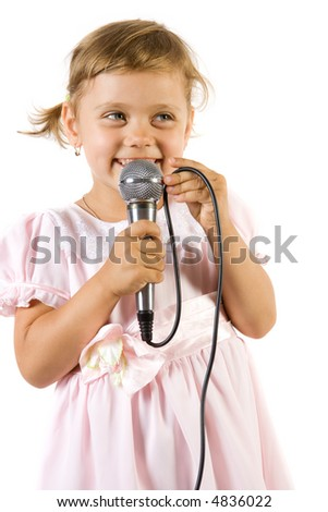 Little girl singing. Isolate on white background. - stock photo
