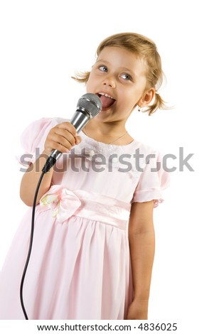 Little girl singing. Isolate on white background. - stock photo