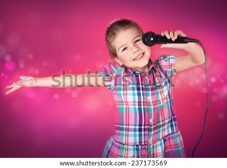 Little girl sings - stock photo