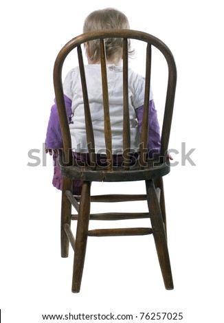 Little Girl Sitting in a Time Out Chair - stock photo