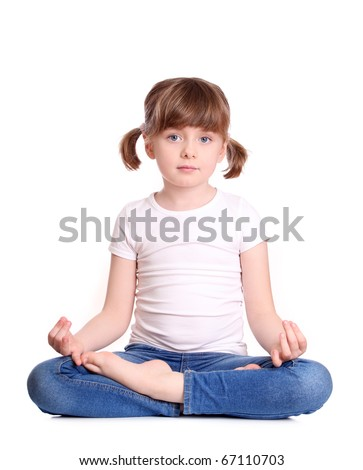Little girl sitting lotus position, isolated on white background