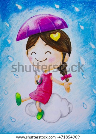 Little girl sitting on cloud with umbrella in hand and raindrop blue background Drawing from crayons Oil pastel color