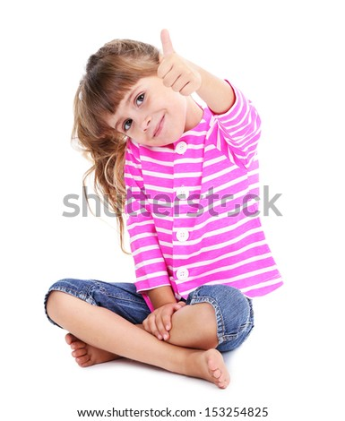 Little girl sitting on floor isolated on white - stock photo