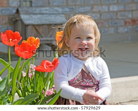 Little Girl Sitting Outside