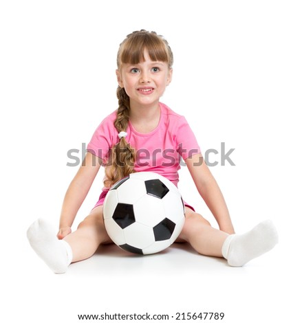Little girl sitting with soccer ball isolated on white - stock photo