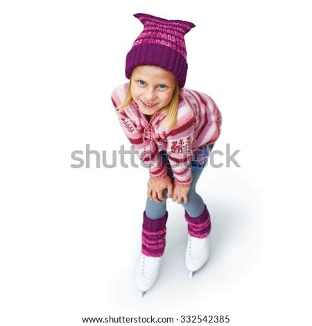 Little girl skating to ice skating. Isolated on white background - stock photo