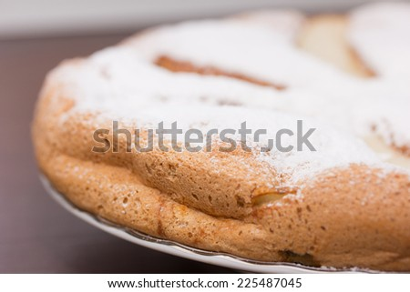 little girl smeared with flour - stock photo