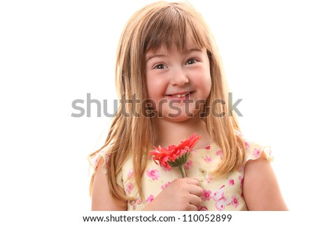 Little Girl Smiling with Pink Flower