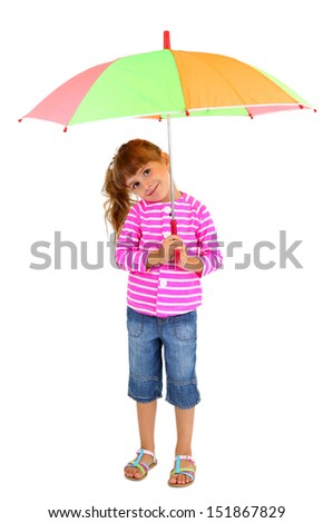 Little girl stands with umbrella isolated on white - stock photo