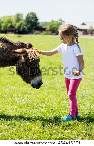 Little girl stroking donkey in the green field.