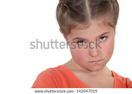 little girl sulking - stock photo