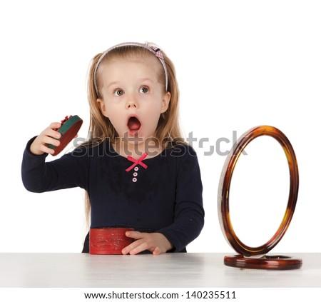 little girl surprised gift - stock photo