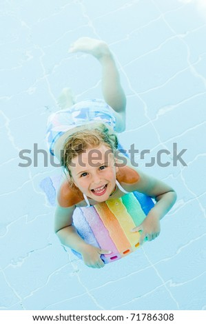 Little girl swimming in water