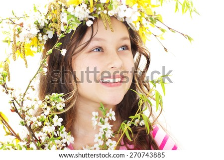 Little girl,  symbol of spring - stock photo