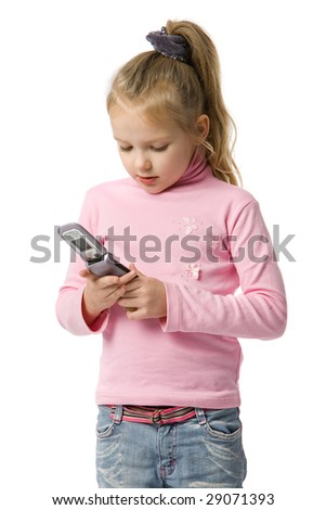 little girl talks by mobile phone, isolated on white