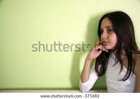Little Girl Thinking - stock photo