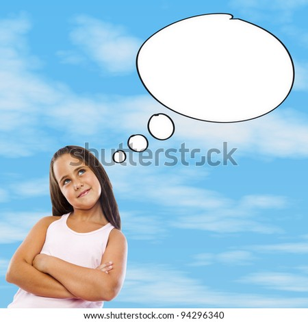 Little girl thinking about her future - stock photo